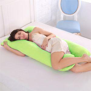 Topchances U-förmiges Schwangerschaftskissen, Seitenschläferkissen, 100% Baumwolle Schwangerschaft Mutterschaft Körper zurück Unterstützung Kissen (130 x 70 cm, Grün)