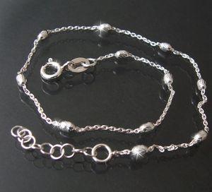 Fußkette 1,2mm Ankerkette 925 Silber 23-26cm Perlen facettiert Kettchen Fuß FK14512-26