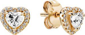 Pandora Gold 259137C01 Earring Studs, Elevated Heart, 14Karat Gold, Clear Cubic Zirkonia Timeless