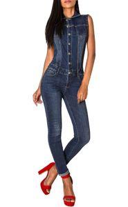 Damen Jeans Overall Jumpsuit Ärmellos Hosenanzug Einteiler, Farben:Dunkelblau, Größe:38