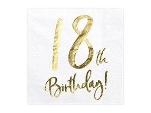 20 Servietten Geburtstag 18 weiß-gold