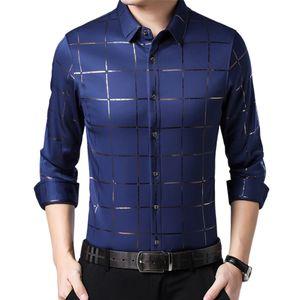 Plus Size Men Casual Langarm Turn Down Kragen Checks Buttons Slim Shirt Marineblau M