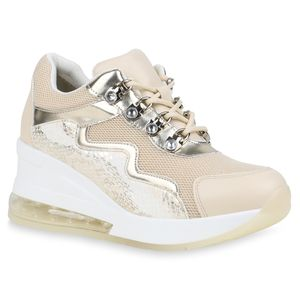 Mytrendshoe Damen Sneaker Strass Schnürer Keilabsatz Schuhe Keilsneaker 834034, Farbe: Beige Gold Snake, Größe: 38