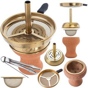 DILAW® Shisha Kaminkopf Set Tabaksieb Kohlezange Kaminaufsatz Tonkopf Tabak Kopf, Kaminkopf Set :Kaminkopf Set Gold