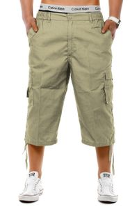 Herren Cargo Shorts 3/4 Bermuda Freizeit Hose Capri mit verschließbaren Seiten Taschen, Farben:Beige, Größe Shorts:3XL