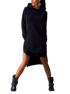 Frauen Pullover Hoodie Kleid Tunika Sweatshirt Tops Kapuze Taschenkleider,Farbe: Schwarz,Gr??e:3XL