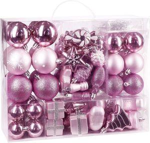 BRUBAKER 77-teiliges Set Weihnachtskugeln Christbaumschmuck Rosa/Silber