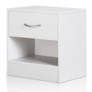 Casaria Nachttisch Nachtkommode mit Schublade Ablagefach 41 x 39 x 28 cm - Nachtschrank Schlafzimmer , Farbe:weiß