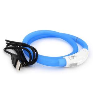 LED USB Halsband Hund Silikon Hundehalsband Leuchthalsband für Hunde aufladbar per USB (Größe S-L auf 18-65 cm individuell kürzbar) in blau