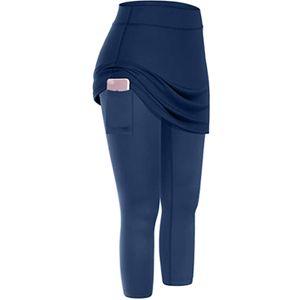 Frauen Tennis Rock Leggings Taschen Elastic Sports Yoga Capris Röcke Legging Größe:M,Farbe:Hellblau