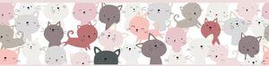 Lovely Kids selbstklebende Kinderzimmer Bordüre Little Cats rosa grau weiß 5,00 m x 0,155 m
