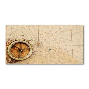Tulup® Leinwandbild - 140x70 cm - Wandkunst - Drucke auf Leinwand - Leinwanddruck  - Landkarten & Flaggen - Beige - Kompass Karte