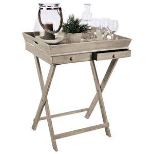 Wohaga® Serviertisch 'Breakfast' Tablett-Tisch mit 2 Schubladen und Gestell