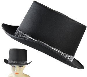 Seiler24  Schwarzer Zylinder Hut mit Strass Bordüre