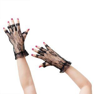 Oblique Unique Netzhandschuhe Spitze kurz Gothic Karneval Fasching - schwarz