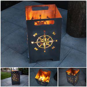 Feuertonne Feuerschale Feuerkorb Groß Eckig Steckbar Leichte Reinigung, Design:Kompass 50cm