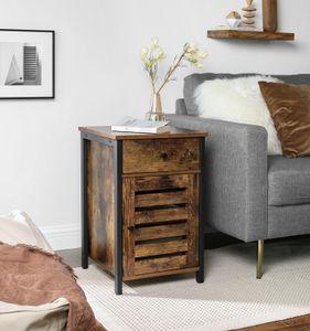 VASAGLE Beistelltisch mit Lamellentür, mit Schublade, Metallgestell, Industrie-Design, vintagebraun-schwarz LET063B01