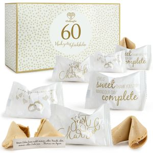 Hochzeits Glückskekse in 60er Box mit einzeln verpackten Keksen und verschiedenen Sprüchen -  Germany
