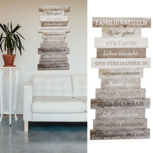 Plankenschild Wandbild Shabby Chic Familienregeln Familienschild Sprüche Familie Regeln Holzoptik Wanddekoration