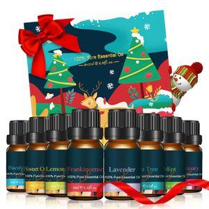 Ätherische Öle Set, Sunnyme Essential Oil für Aromatherapie Duftöl/Diffuser, 8X10 ml Natürliches & Sicheres Teebaum, Eukalyptus, Lavendel, Zitronengras, Süßorange, Minze Weihnachts Geschenk