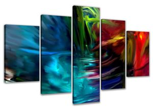 200 x 100 cm Bild auf Leinwand abstrakt bunt 6315-SCT deutsche Marke und Lager  -  Die Bilder / das Wandbild / der Kunstdruck ist fertig gerahmt