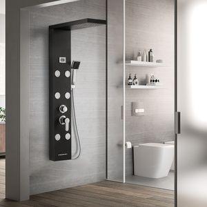 Auralum schwarz Duschsystem 4 Funktionen Duschpaneel Duschsäulen aus rostfreiem Edelstahl mit LED Temperaturanzeige