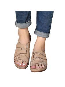 Damen Sandalen Flache Schuhe Sommer Gesunde Schuhe,Farbe:Beige,Größe:39