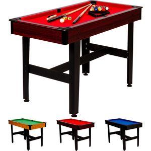 4ft Billardtisch COMPACT, dunkles Holzdekor, rotes Tuch