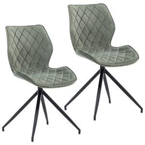 Duhome 2er Set Esszimmerstuhl Polsterstuhl drehbar aus Stoff Samt Blassgrün Graugrün Konferenzstuhl gesteppt Metallbeine