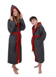 Betz Kinderbademantel mit Kapuze LONDON 100% Baumwolle Kinder Bademantel 2-farbig, Größe - 176, Farbe anthrazit-rot