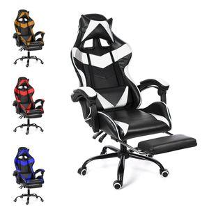 Bürostühle Gaming Racing Schreibtischstuhl Drehbar Verstellbar 150kg Chefsessel Bürostuhl mit Fußstütze Farbe: Weiß UK Lager