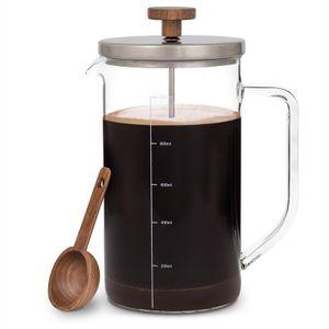 Klarstein Glaswerk Ristretto French Press Kaffeebereiter Kaffeepresse Cafetière Kaffeedrücker , Volumen: 1 Liter , 2-5 Tassen , Borosilikatglas , rostfreier Edelstahl , Griff aus Walnussholz , inkl. Messlöffel aus Walnussholz