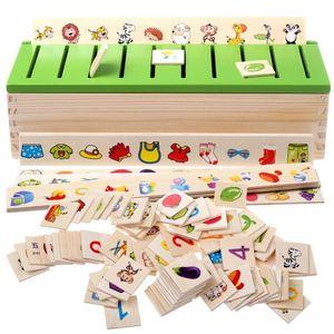 Montessori Holz Steckspiel Sortierspiel Kinderspiele Kinder Spiele Spielzeug (Chinesisch und Englisch)