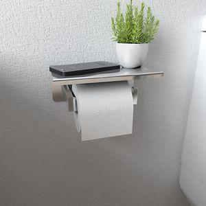 Toilettenpapierhalter Edelstahl Klopapierhalter mit Ablage Rollenhalter Silber-Gebürstet
