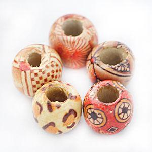 100Stück Runde Holzperlen Spacer Zwischenperlen gemalt Muster Mehrfarbig Rund 12mm