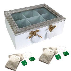 Teebox Holz Weiß/Natur mit 6 Fächern