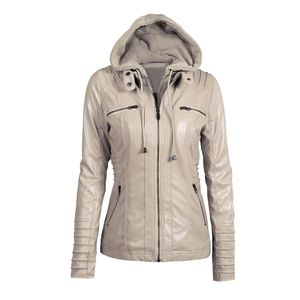 Damen Faux Leder Kapuzenjacke mit Reissverschluss Hoodie Kurzer schlanker Motorrad Jackenmantel[beige 5XL]