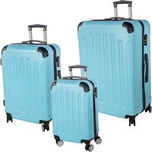 3er Reisekoffer Set mit Rollen & Zahlenschloss Hartschalenkoffer Gr. M/L/XL Blau Trolley Handgepäck Reisegepäck Kofferset Hardcase Travel Koffer
