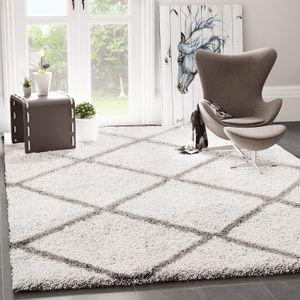 Hochflor Shaggy Teppich Rauten Muster Design Wohnzimmer Creme Grau Modern, Maße:140x200 cm