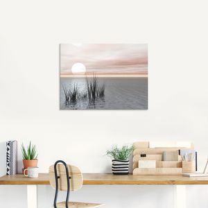 ARTland Glasbild Sonnenuntergang mit Schilf Glasbild Größe: 60x45 cm