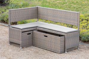Merxx Unterschiebbox groß für Eckbank Set - Stahlgestell mit Kunststoffgeflecht grau/beige - 28823-258
