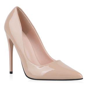 Mytrendshoe Damen Pumps High Heels Stiletto Elegante Schuhe Absatzschuhe 832053, Farbe: Beige, Größe: 40