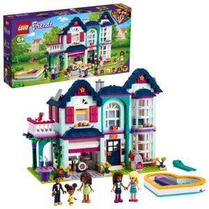 LEGO 41449 Friends Andreas Haus Spielset, Puppenhaus mit Schwimmbad und Musikstudio