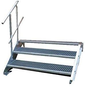Stahltreppe 3 Stufen-Breite 60cm Variable-Höhe 40-60cm mit einseit. Geländer