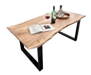 SIT Möbel Baumkante-Esstisch 160 x 85 cm | 26 mm Tischplatte natur aus Akazie | Gestell Stahl schwarz | B 160 x T 85 x H 77 cm | 07198-99 | Serie TABLES & CO