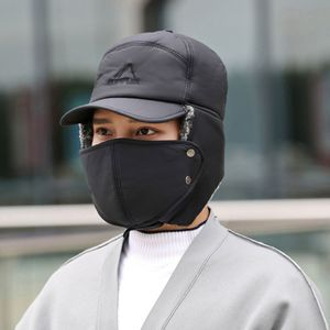 Einstellbar Unisex Trapper Hut Mit Maske + Ohrenklappen Winter Plüsch Warme Lei Feng Fahrradkappe Skimütze Schwarz