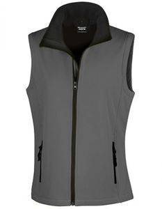 Damen Printable Soft Shell Bodywarmer - Farbe: Charcoal/Black - Größe: S