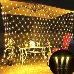 6X4M 880LED Lichtervorhang Lichterkette 8 Lichtmodi Weihnachtslicht Party Garten Lichternetz, Warmweiß