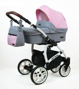Polbaby Kinderwagen Optimal,3in1 -Set Wanne Buggy Babyschale Autositz mit Zubehör Light Pink