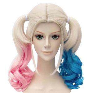 Selbstmordkommando Harleys Quinn Cosplay Frauen Pink Blue Gradient Curly Perücke Haarteil